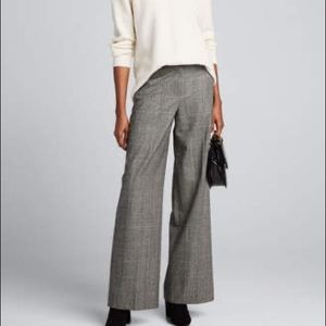 Theory wide leg wool plaid check trouser pants 12
